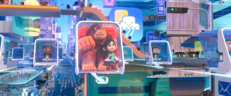 """NAVIGATING THE NET – In """"Ralph Breaks the Internet,"""" video-game bad guy Ralph and fellow misfit Vanellope von Schweetz venture to the internet for a replacement part for her game, Sugar Rush. The world wide web is expansive and exciting with an elaborate transportation system Ralph and Vanellope find themselves squeezing into en route to one of their first internet destinations. Featuring the voices of John C. Reilly as the voice of Ralph, and Sarah Silverman as the voice of Vanellope, """"Ralph Breaks the Internet"""" opens in U.S. theaters on Nov. 21, 2018. ©Disney. All Rights Reserved."""